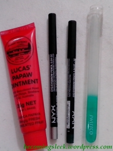 L to R: Lucas Papaw Ointment, 2 Nyx Eye Pencils, green Swissco glass file