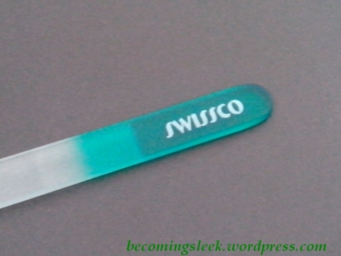 Swissco Glass File - handle end and branding